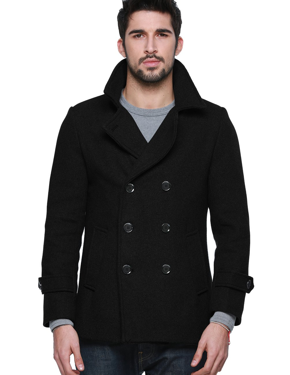 Match Mens Wool Blend Classic Pea Coat Winter Coat (US XS/CN M (Fit 32''-34''), 010-Black) by Match