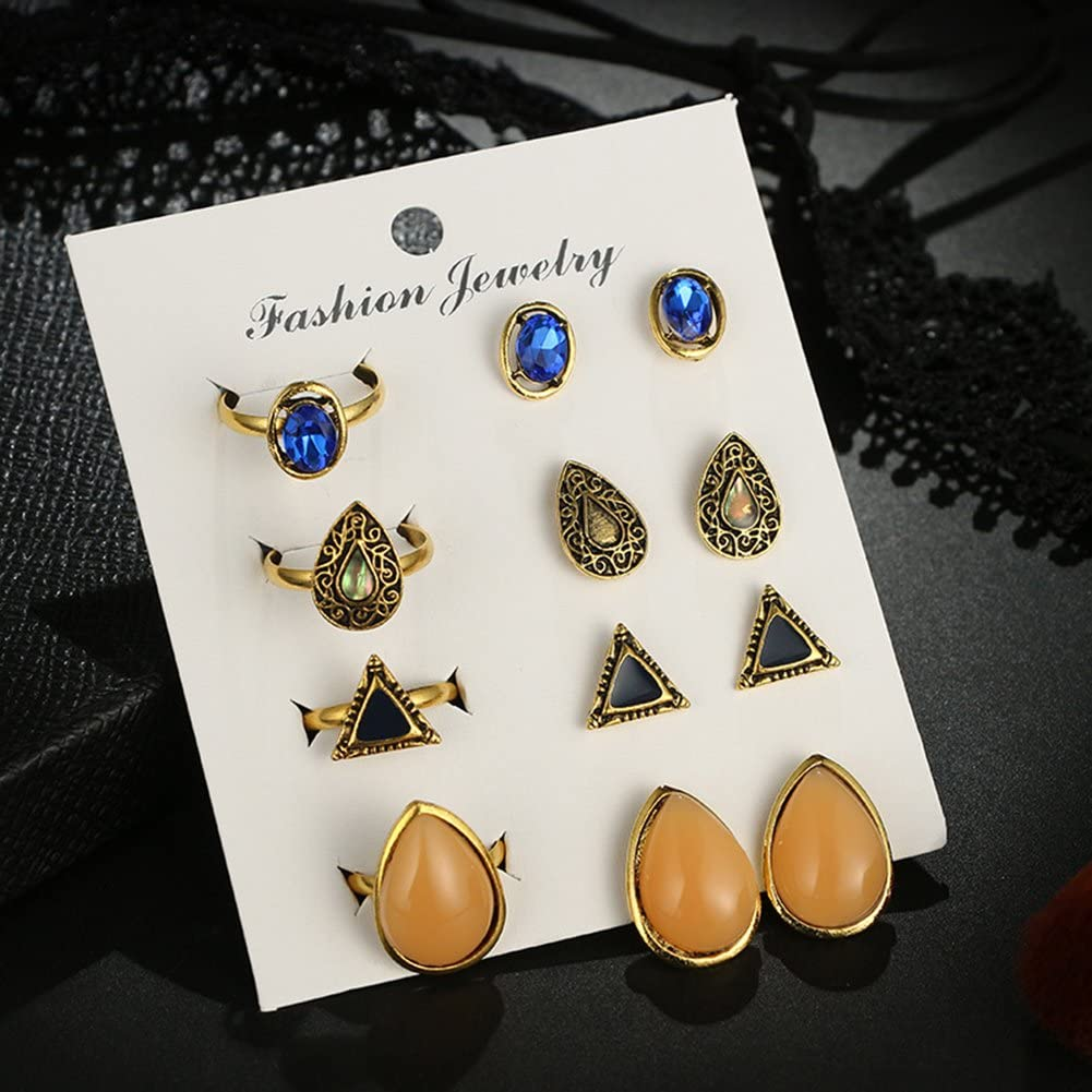 856store 4Pcs Rings 4 Pairs Ear Studs Triangle Oval Geometric Vintage Women Jewelry Set