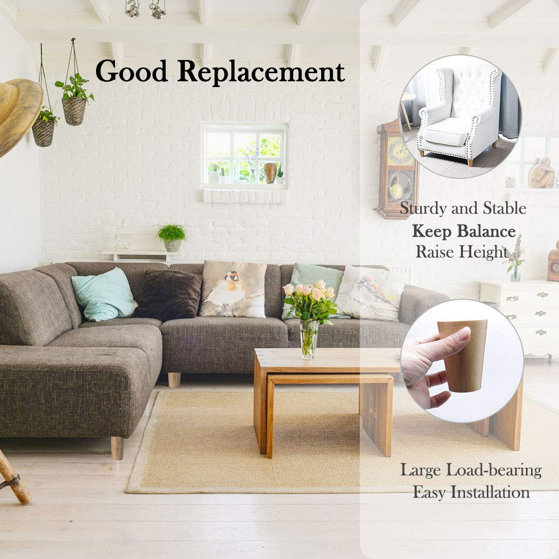 gabinete sourcing map Pie de reemplazo de alacena silla Agregar altura Patas de madera para muebles 6