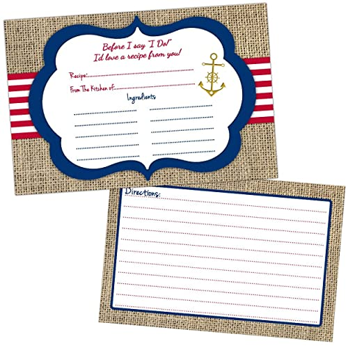 nautical wedding bridal shower recipe cards gift bride anchor engagement party ideas