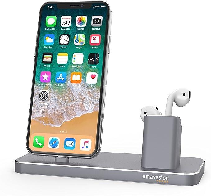 Estuche de carga Amavision, soporte cargador 2 en 1 para iPhone y AirPods, compatible con iPhone