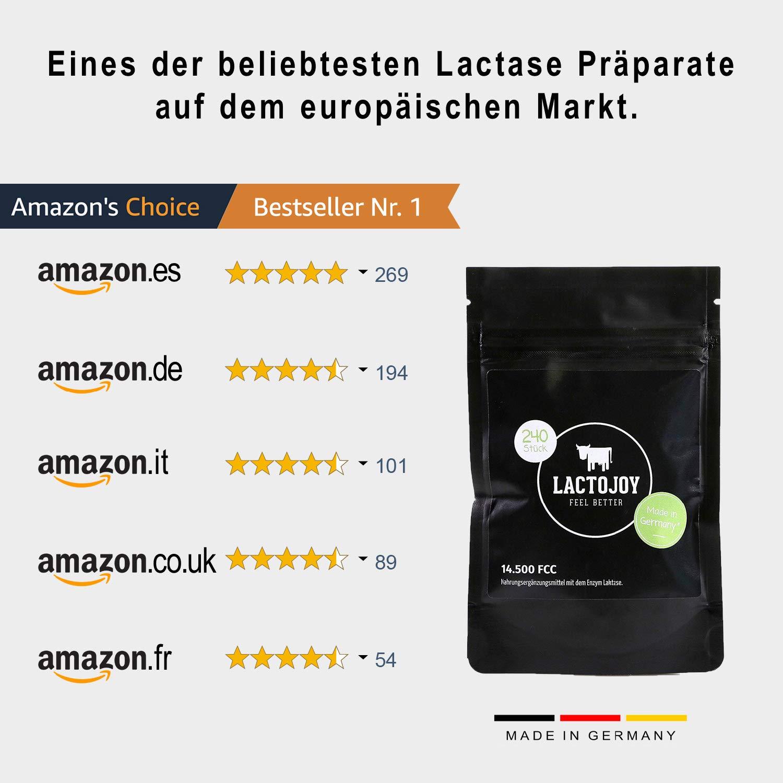 LactoJoy Pastillas de Lactasa | Comprimidos de Enzimas Digestivas para Intolerancia a la Lactosa | Capsulas Probióticos para Digestión de Leche y ...