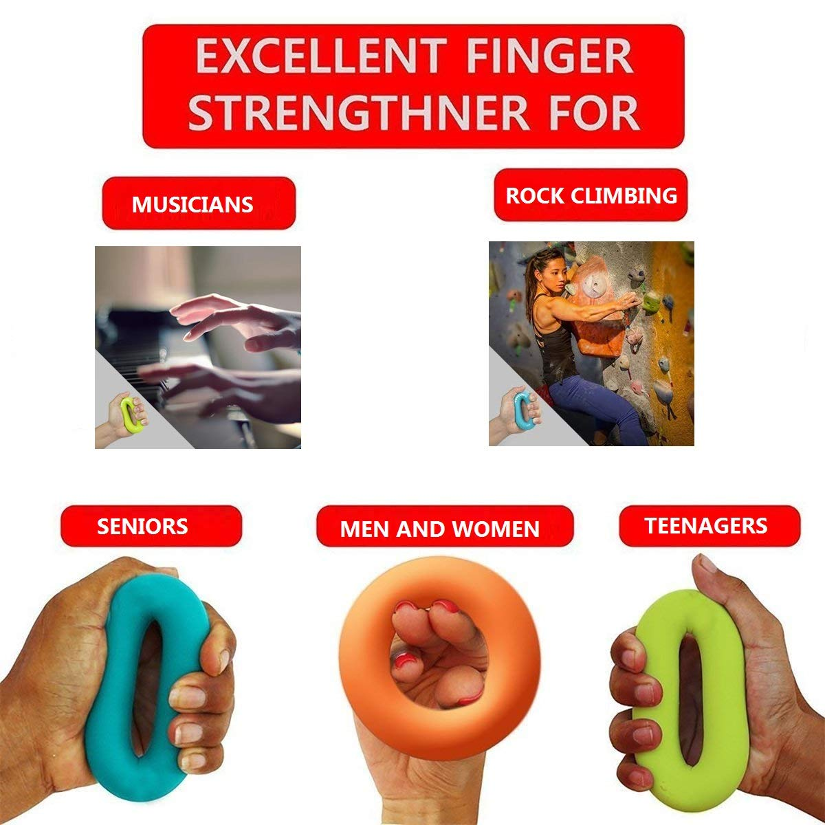 SANDAO Hand Grip Ring Muscle Power Training, Finger Stretcher, Grip Strength Trainer Ring,Hand Exercisers - Silicone Rings Hand Strengthening Rings Set (3 PCS) (Round 30-50lbs)