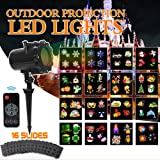 Christmas Slide Show Lights Projector Outdoor Led with Remote Decoration for Holiday Halloween Party Garden