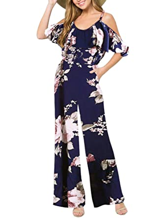cbd59da21d1 Luyeess Women's Casual Elegant Floral Print Navy Blue Strap Strappy Ladies  Ruffled Tall New Wide Leg