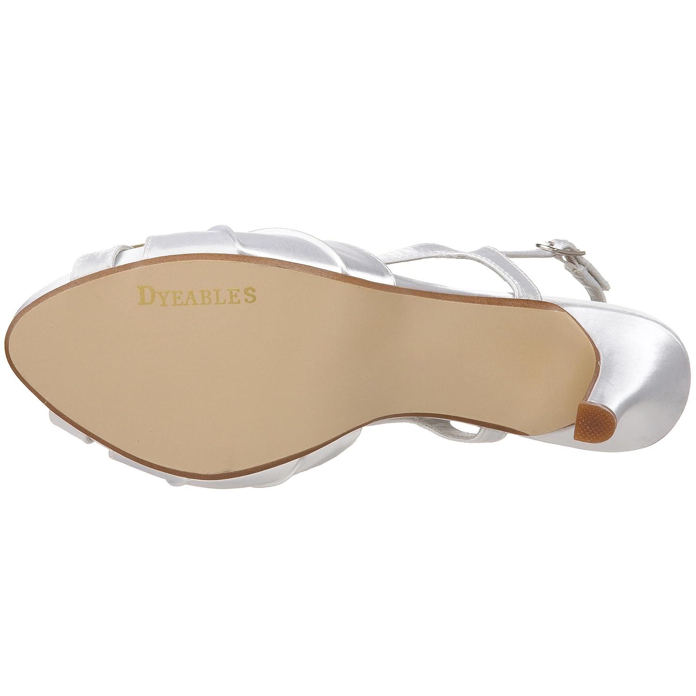 Dyeables Women's B002WPZBVY Aliyah Slingback Platform Sandal B002WPZBVY Women's 6.5 B(M) US|White Satin b1e590