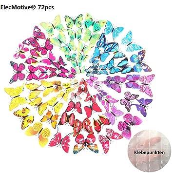 ElecMotive 72 Tlg 3D Abnehmbar Schmetterlinge Wandaufkleber Wandtattoo Wandbilder Wandsticker Dekoration Fr Schlafzimmer Wohnzimmer Kinderzimmer Geschenk
