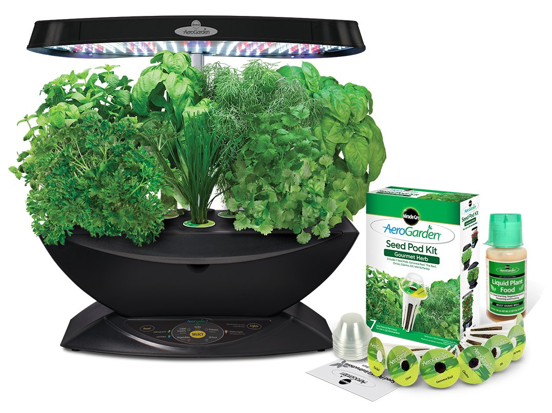 AeroGarden 7 LED Indoor Garden with Gourmet Herb Seed Kit by AeroGrow