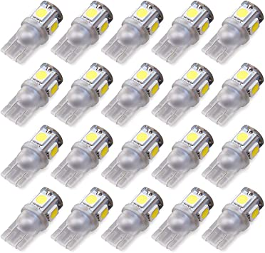 LABBYWAY 194 LED Light Bulb 6000K White Super Bright 168 2825 W5W T10 Wedge 5-SMD 5050 Chipsets,LED Replacement Bulbs Error Free for Car Dome Map Door Courtesy License Plate Lights Pack of 20