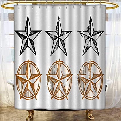 Texas Star Shower Curtains Fabric Extra Long Vintage Western Stars Antique Hand Drawn Illustration Stripes Patterned