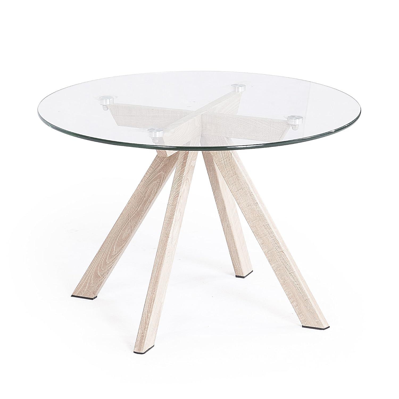 Mesa de comedor de cristal redonda. Todo tipo de mesas a precios especiales.