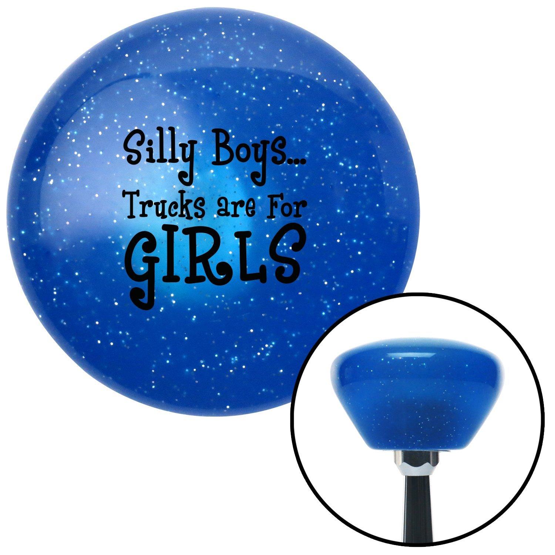 Black Silly Boys.Trucks are for Girls American Shifter 28822 Blue Retro Metal Flake Shift Knob