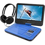 "WONNIE 10.5"" Portable DVD Player with 270° Swivel Screen Built-in Rechargeable Battery SD Card and USB, Direct Play in Formats AVI/MP3/JPEG/RMVB (10.5, Blue)"