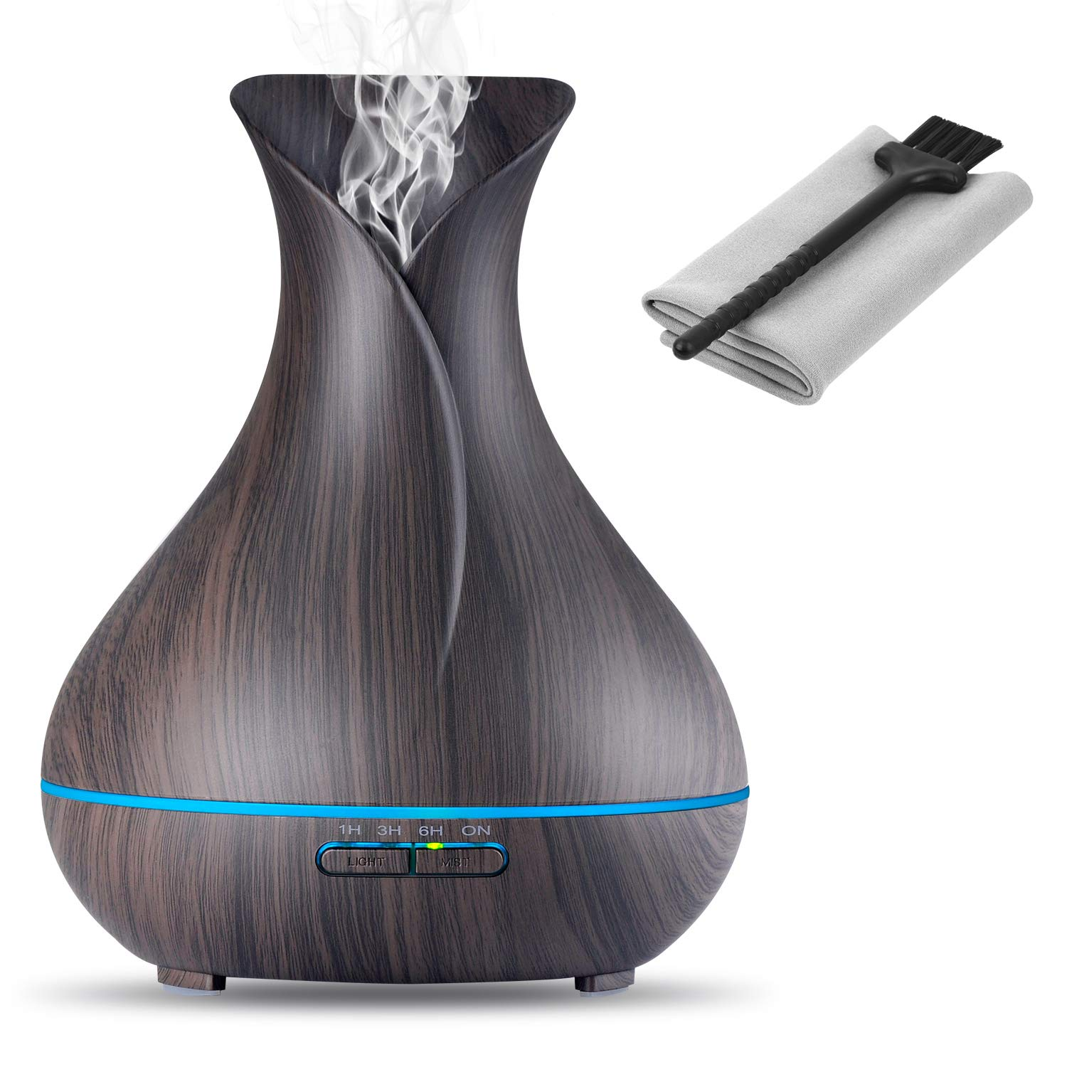 OliveTech Aroma Essential Oil Diffuser, 400ml Ultrasonic Cool Mist Humidifier with Waterless Auto Shut-Off and Cleaning Kit for Home, Yoga, Office, Spa, Bedroom, Baby Room - Wood Grain