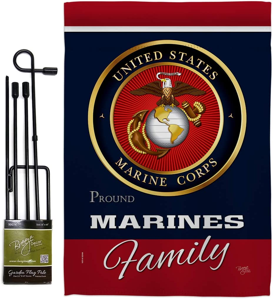 Breeze Decor Marine Corps Marines Proudly Family Garden Flag Set with Stand Armed Forces USMC Semper Fi United State American Military Veteran Retire Official Gift Yard House Double-Sided 13 X 18.5