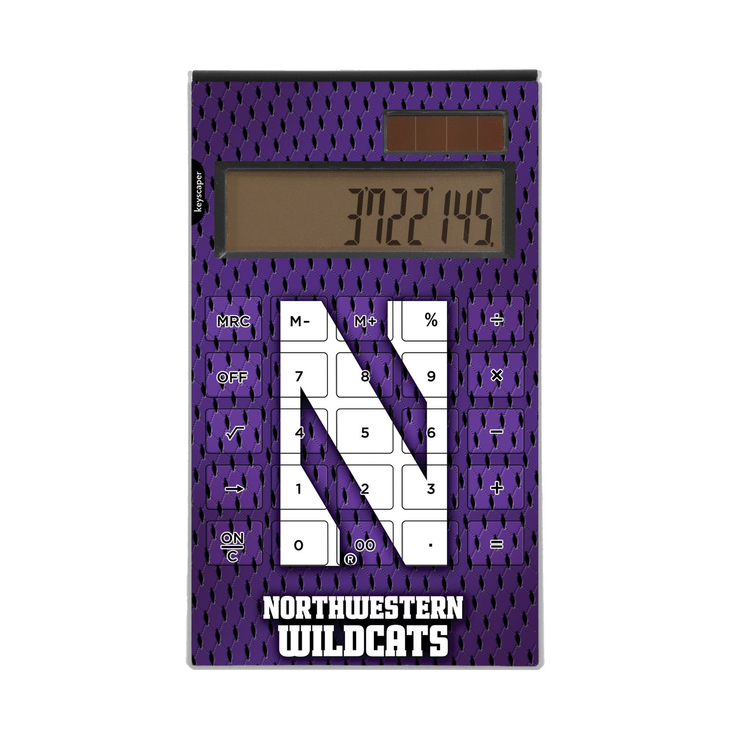 Northwestern Wildcats Desktop Calculator officially licensed by Northwestern University & Kellogg Full Size Large Button Solar by keyscaper® by Keyscaper