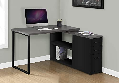 Monarch Specialties Computer L-Shaped-Left or Right Set Up-Contemporary Style Corner Desk with Open Shelves and Drawers, 48 L, Black-Grey Top