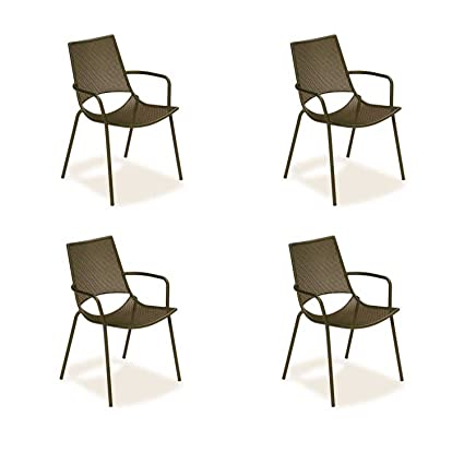Oferta Emu 4 sillones apilable Ala Marrón India Bar ...