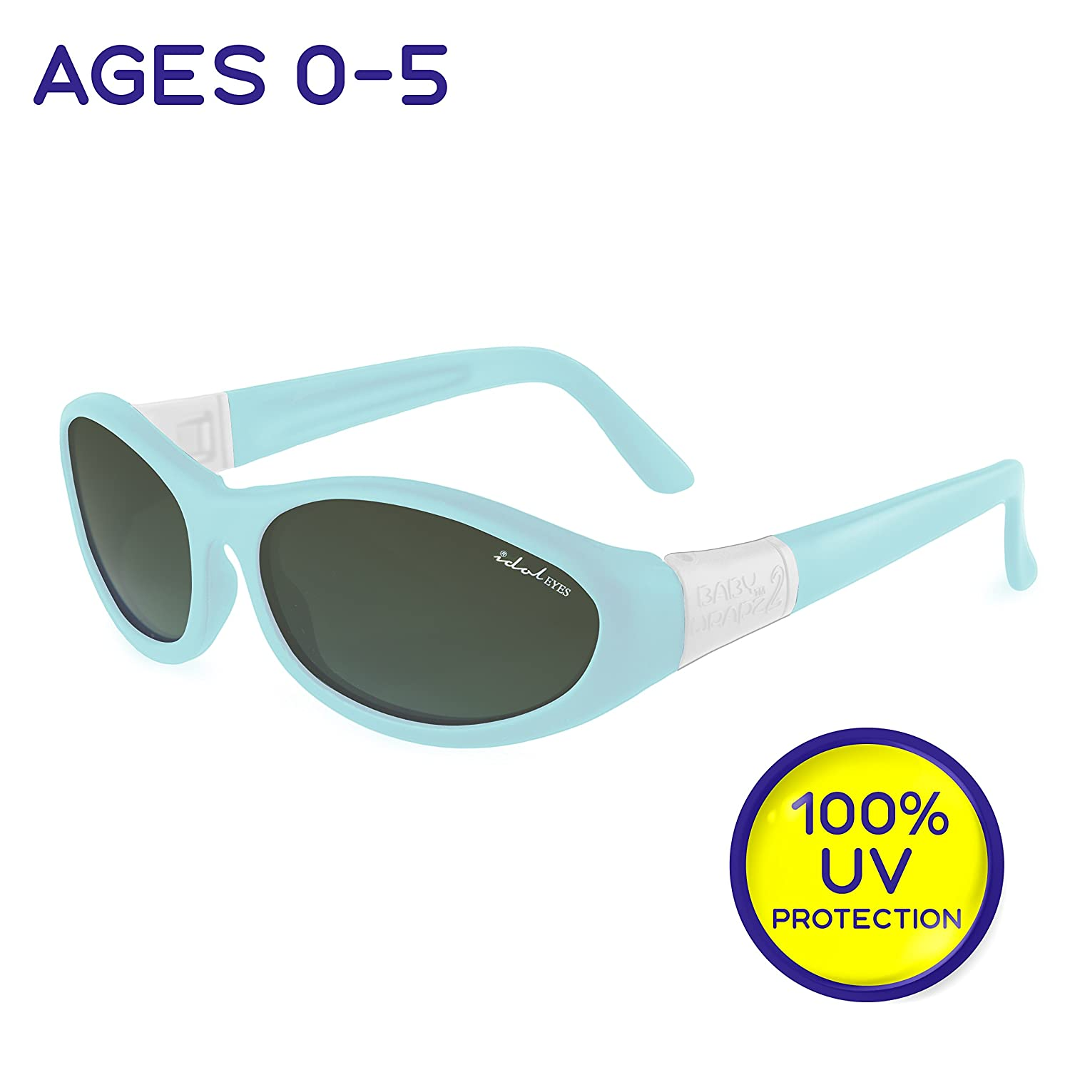 """Idol Eyes Kids Sunglasses for Kids - """"Baby Wrapz 2"""" 100% UV Protection Baby Sunglasses with Strap and Temples + Extra Baby Sunglasses Strap for Ages 0-5 (Blue)"""