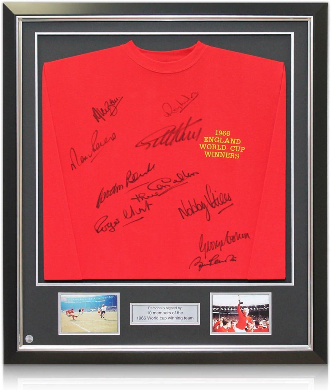 Inglaterra Copa del Mundo 1966 Equipo ganador camiseta firmada En Deluxe Negro Marco Con embutido de la plata: Amazon.es: Deportes y aire libre