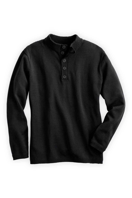Fair Indigo Fair Trade Organic Men's Button Pullover Sweater (M, Black)