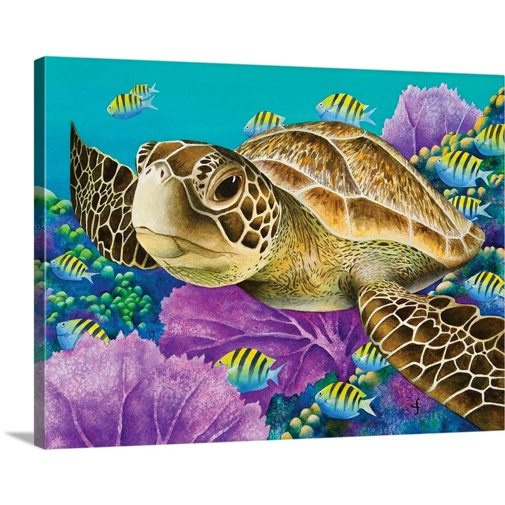 Carolyn Steeleプレミアムシックラップキャンバス壁アート印刷題名Young Green Sea Turtle 40