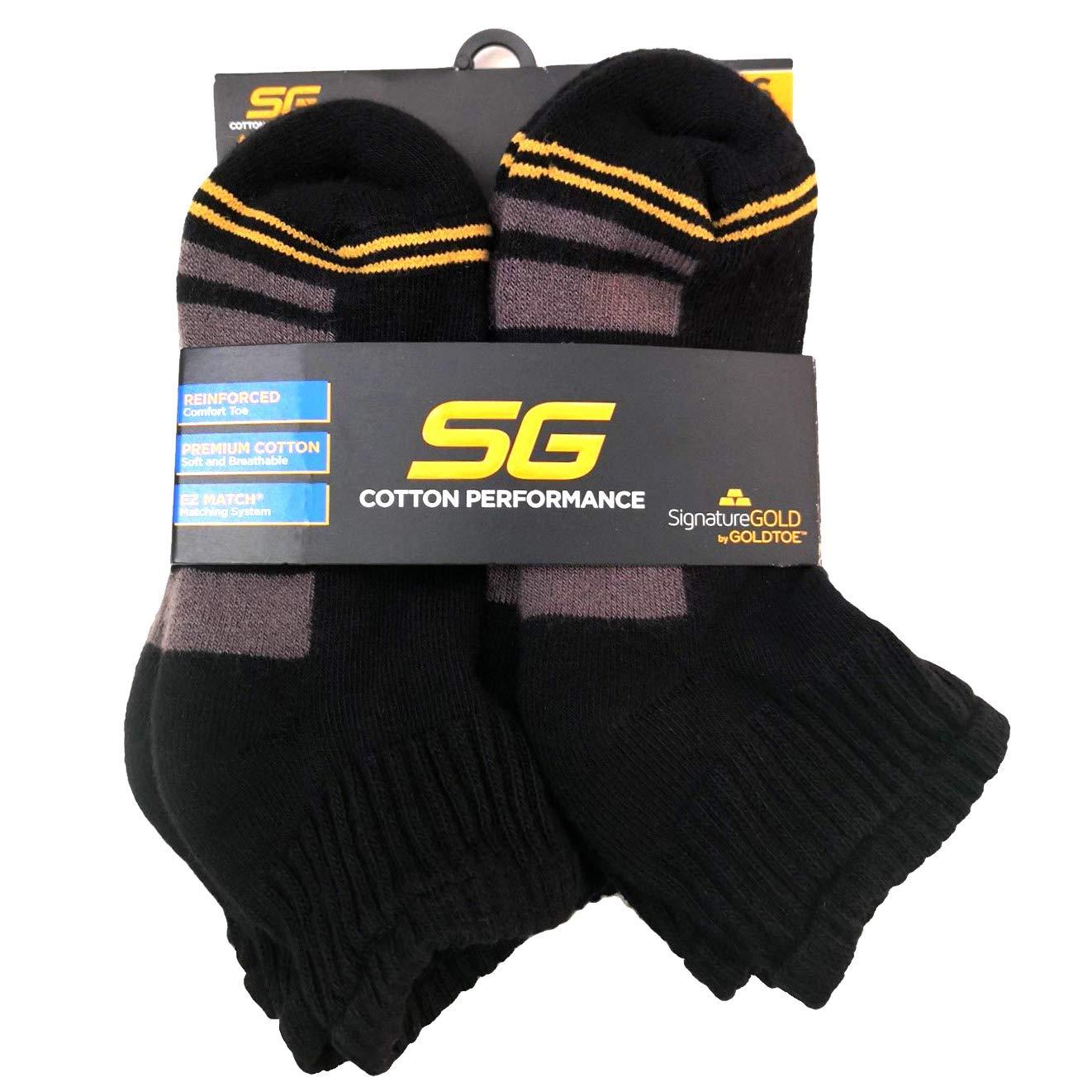 Boys GOLDTOE Cotton Performance Ankle Socks 6 Pairs Black Size M