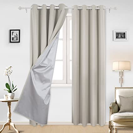 Deconovo Curtains Grommet Top Blackout Window Treatment Set With Silver Coating For Bedroom 52 By