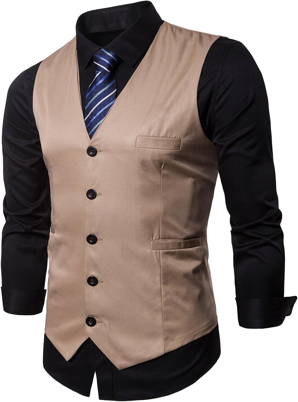 Hodzaiw Mens Business Suit Vest Slim Fit Formal Vest Waistcoat