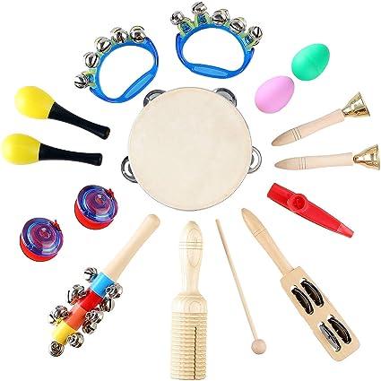 MVPOWER Set de 15pcs de Instrumentos Musicales Set de Percusión ...