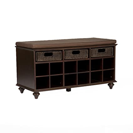 e892605ab1 Amazon.com: Chelmsford Entryway Storage Bench - Shoe Cubbies w/ Fixed  Shelves - Expresso Finish: Kitchen & Dining