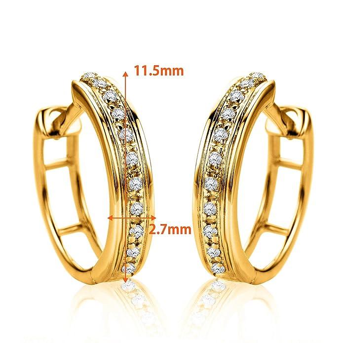 d917a53d8930 Orovi Pendientes Señora aros en Oro Amarillo con Diamantes Talla Brillante  0.06 ct Oro 9 Kt   375  Amazon.es  Joyería