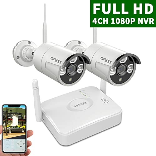 2020 Update OOSSXX 4-Channel HD 1080P Wireless Mini Security Camera System,2Pcs 1080P Wireless Indoor Outdoor IR Bullet IP Cameras,No HDD