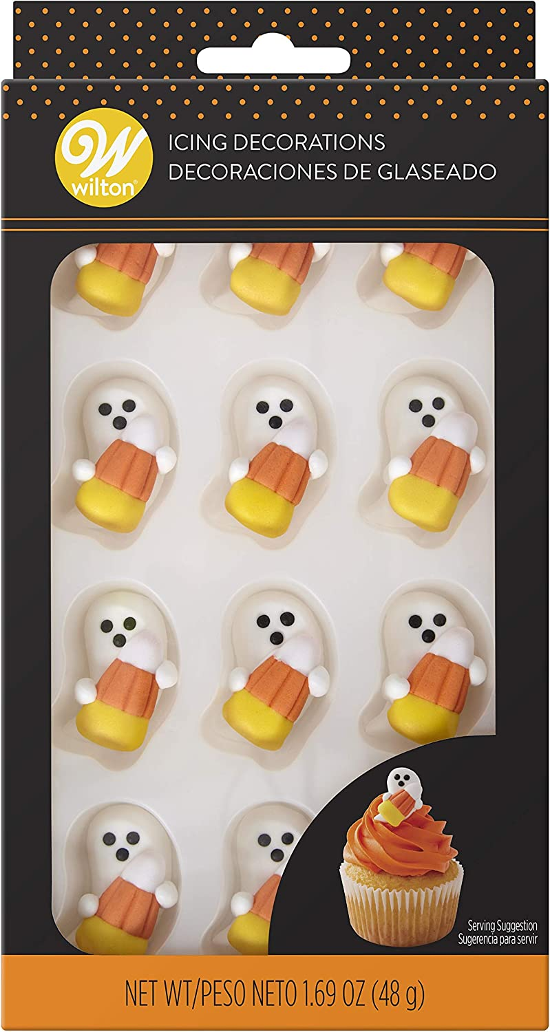 Food Items Royal Icing Decor CNDY, Ghost with Candy Corn