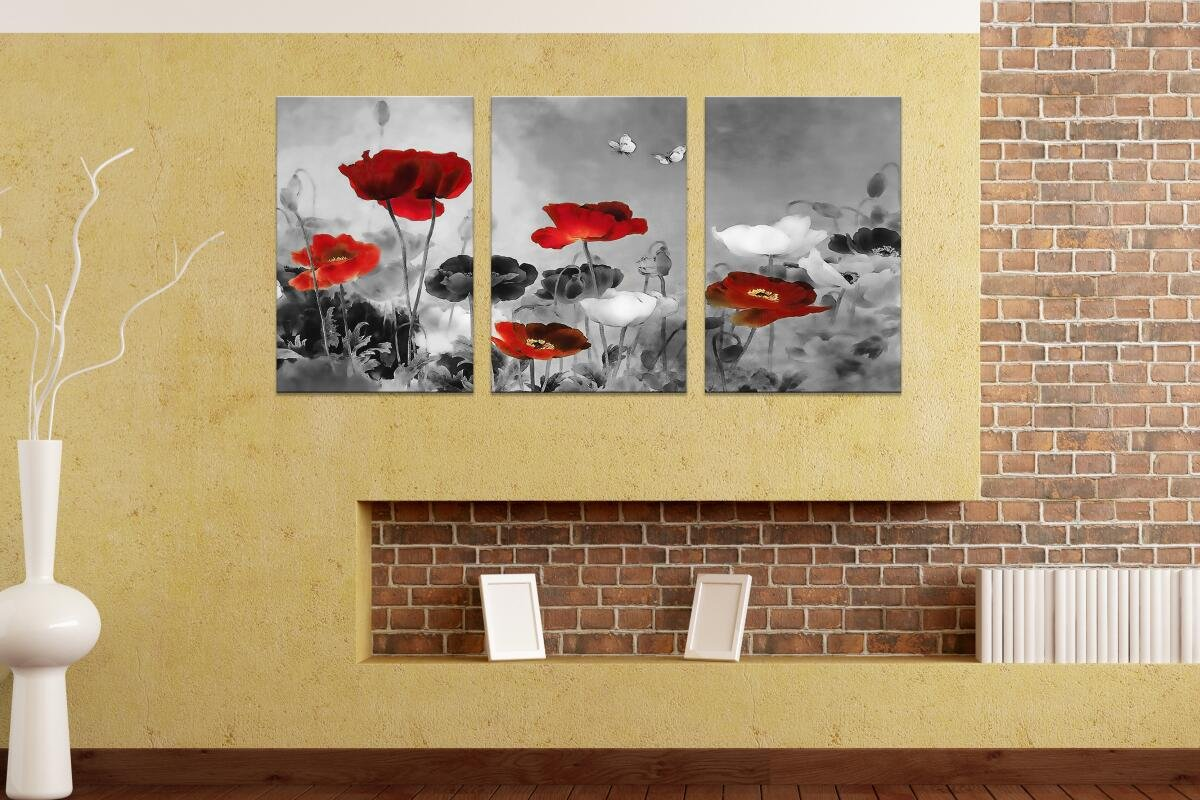 Amazon.com: HLJ Modern Poppies Butterfly Fly Over The Black and ...