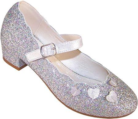 Zapatos de tacón bajo plateados brillantes para fiesta y ocasión especial Mary Jane