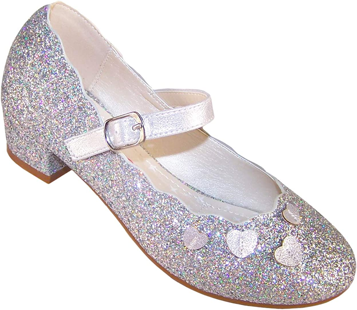 Girls Low Heeled sillver Sparkly Party