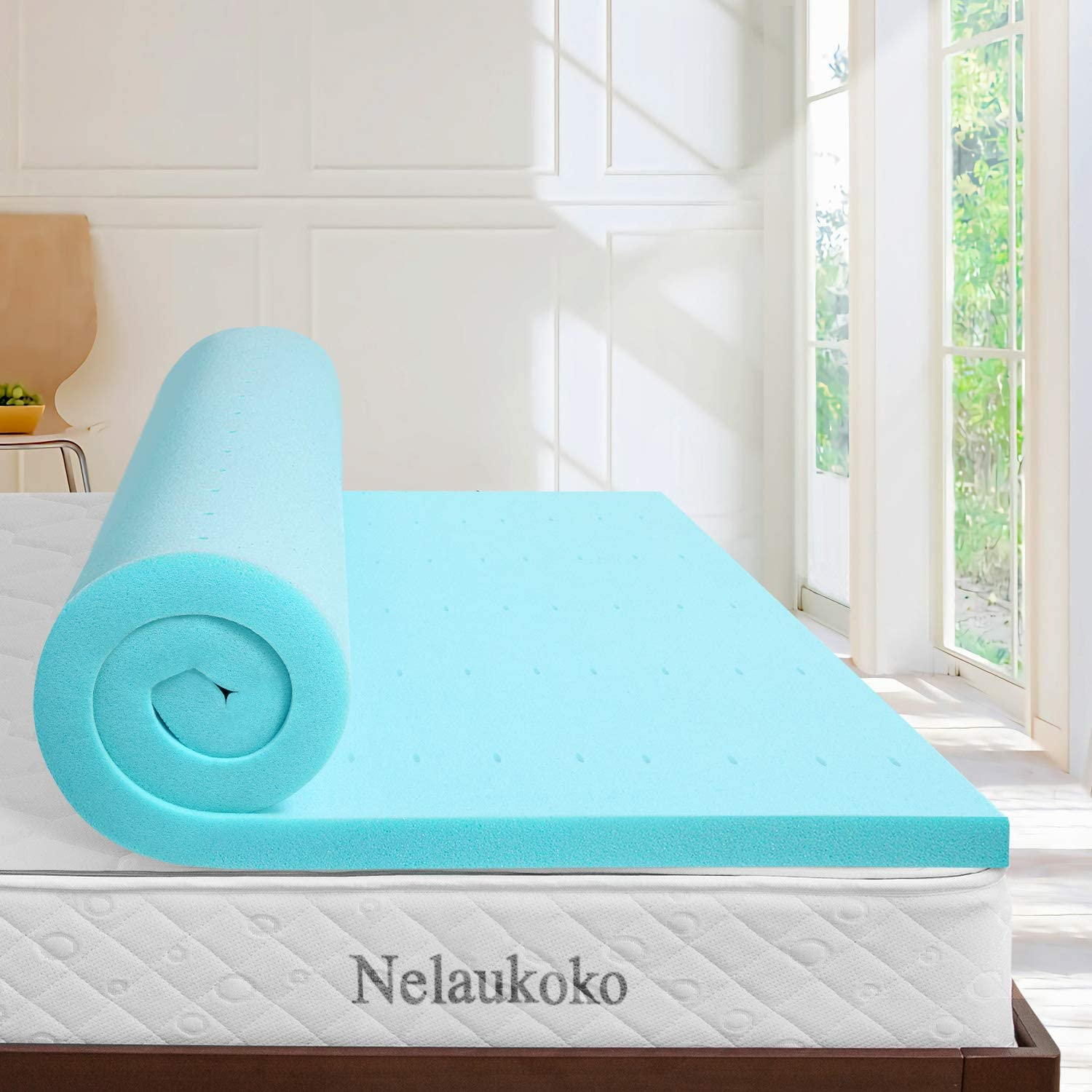 Nelaukoko 2 Inch Full Size Memory Foam Mattress Pad, Gel-Infused Double Bed Topper