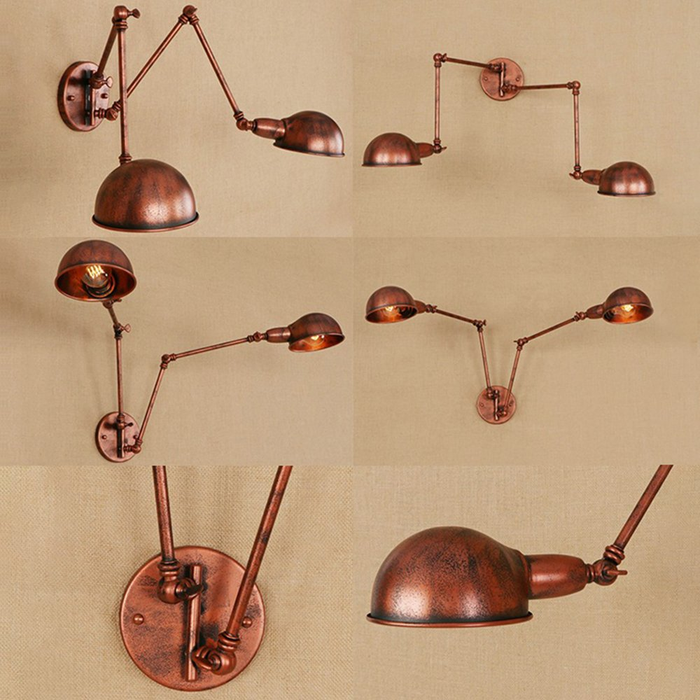 Industrial Wall Sconce - LITFAD Adjustable 2 Lights Wall Light with Extendable Fixture Arm in Rust