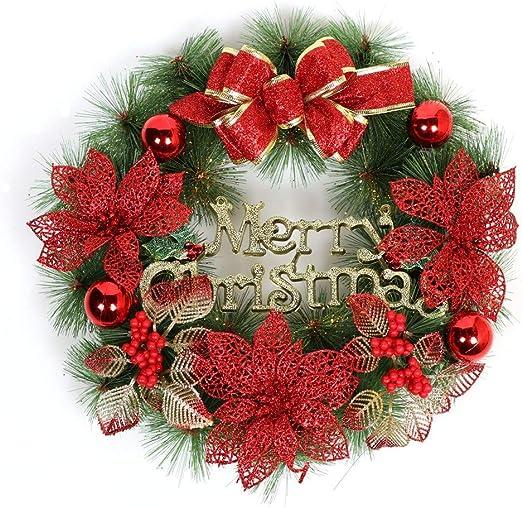 Goodvk Maravillosa Corona de Navidad La decoración del Arco de artesanías Corona de Navidad con Bolas