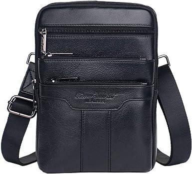 Sxuefang Mens Shoulder Bag Mens Messenger Bag Leather Mens Bag Casual Mens Shoulder Crossbody Bag 21x7x18cm