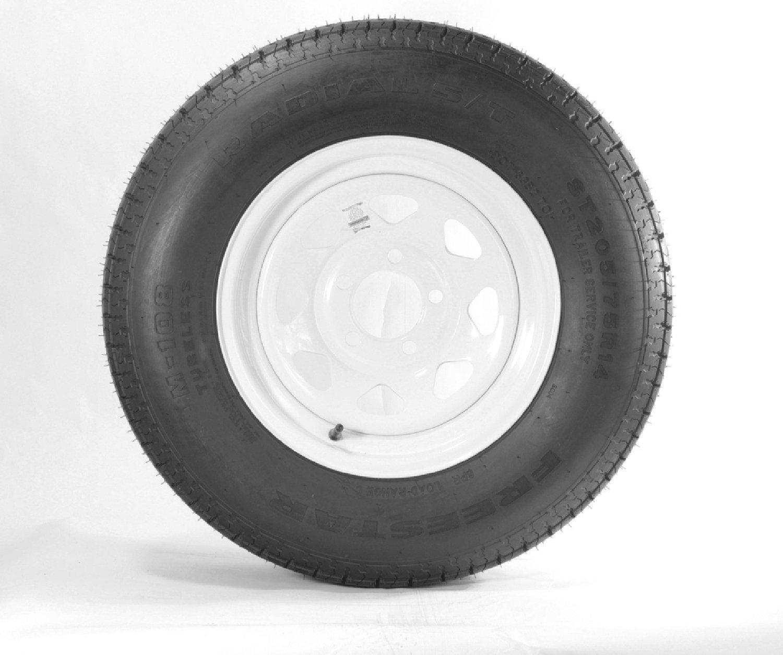 eCustomRim Trailer Tire Rim ST205/75D15 15 in. Load C 5 Lug 4.75 in. White Spoke