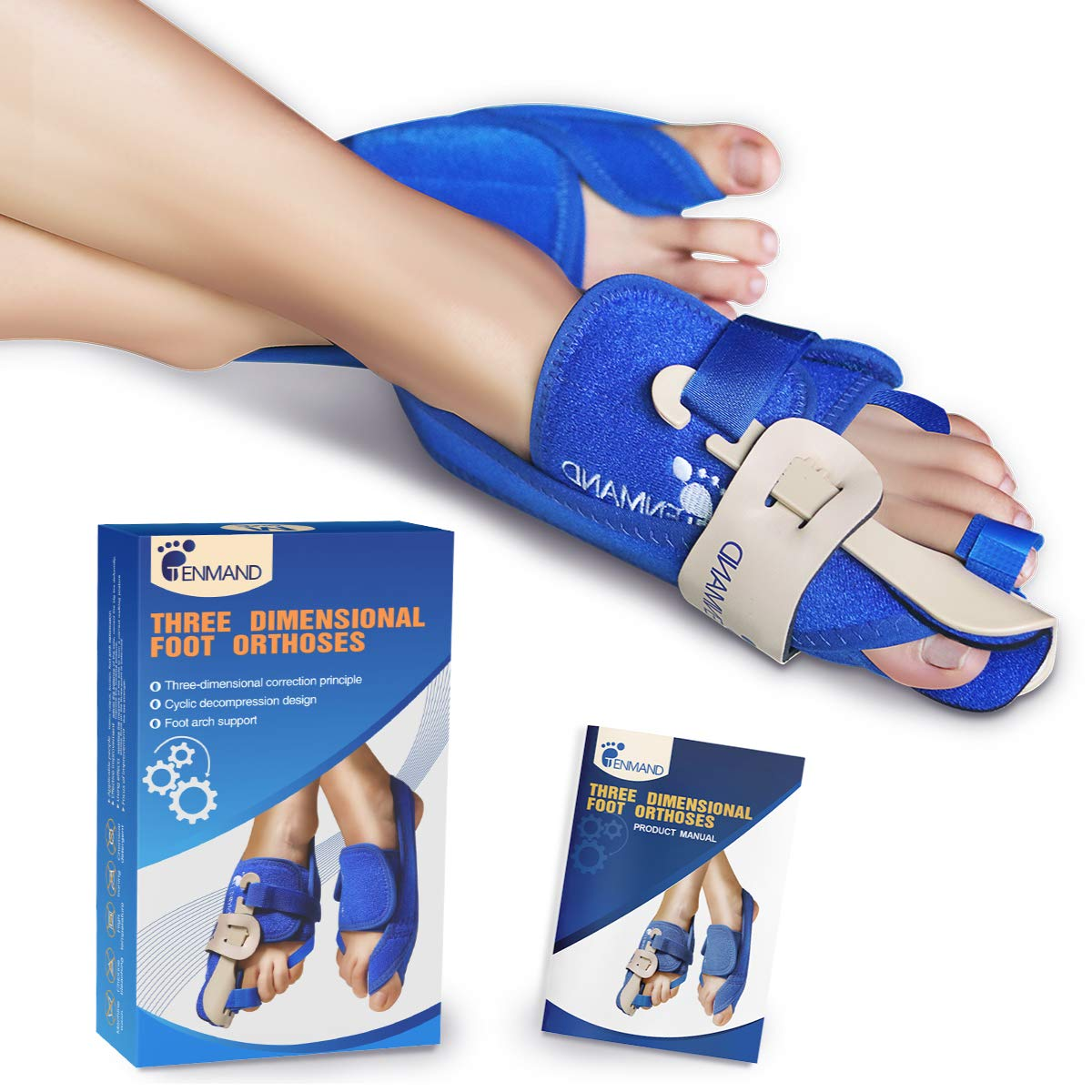 TENMAND Best Three-Dimensional Bunion Correctors and Toe Straighteners Bunion Splint for Big Toe Night Time Hallux Valgus Corrector Splints for Bunion Relief for Woman and Man (Left, Medium) by TENMAND