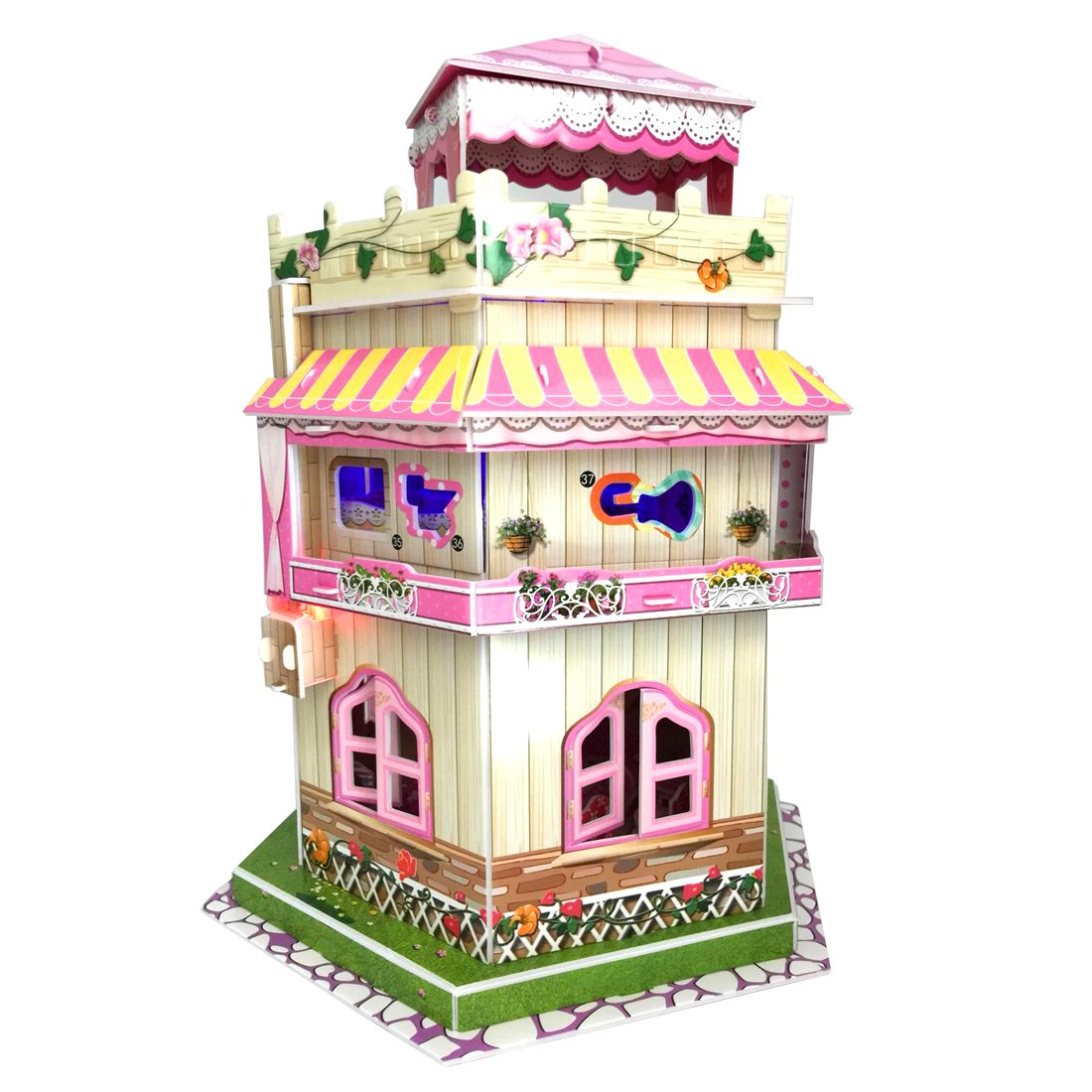 Sourcingbay 3D Puzzle Romantic Dollhouse With Led Ambient Light - Gifts for Girls 8 Years Old and Under Educational Toys Craft for Kids (101 Pieces) China OEM