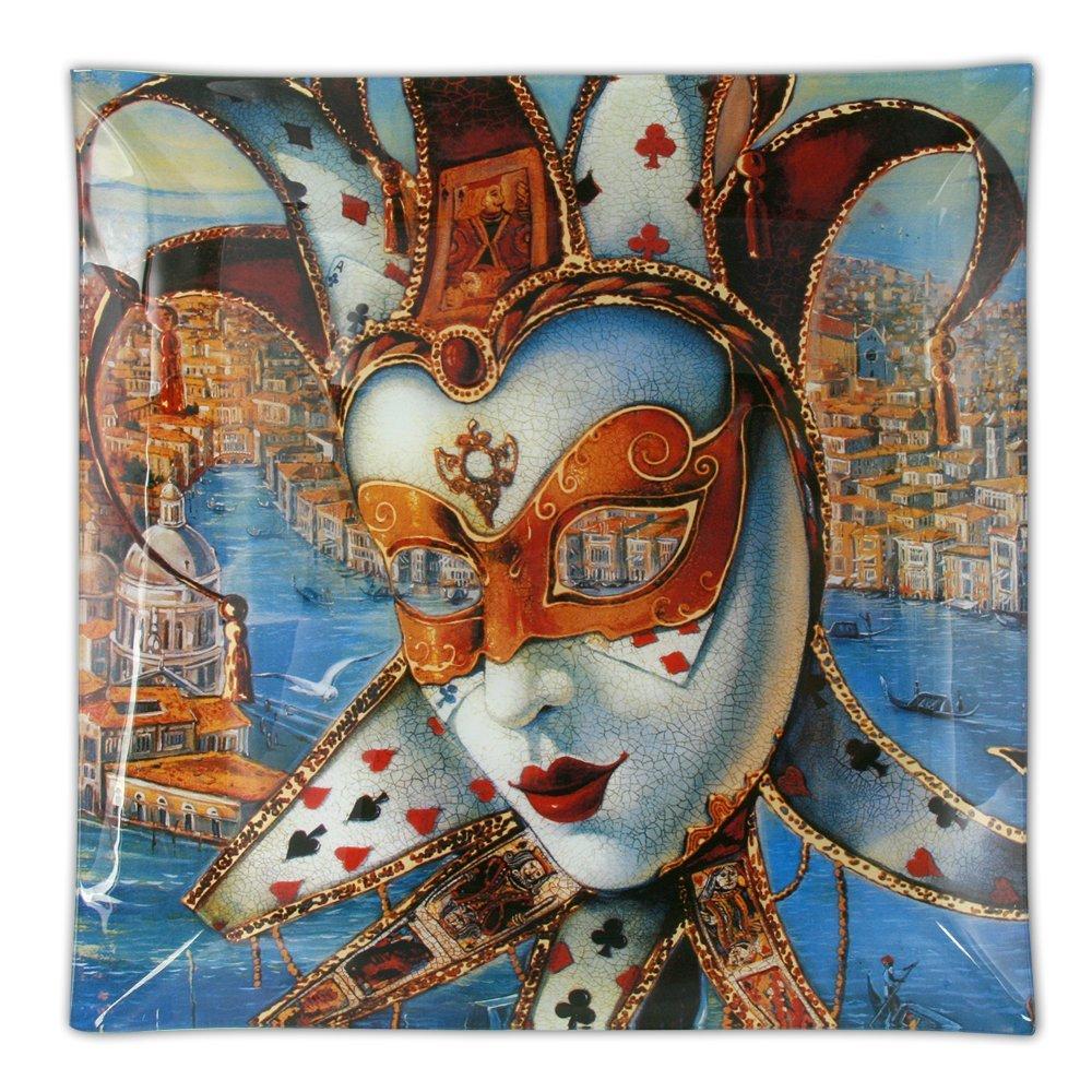 Plato de vidrio cuadrado 'Venetian Mask'