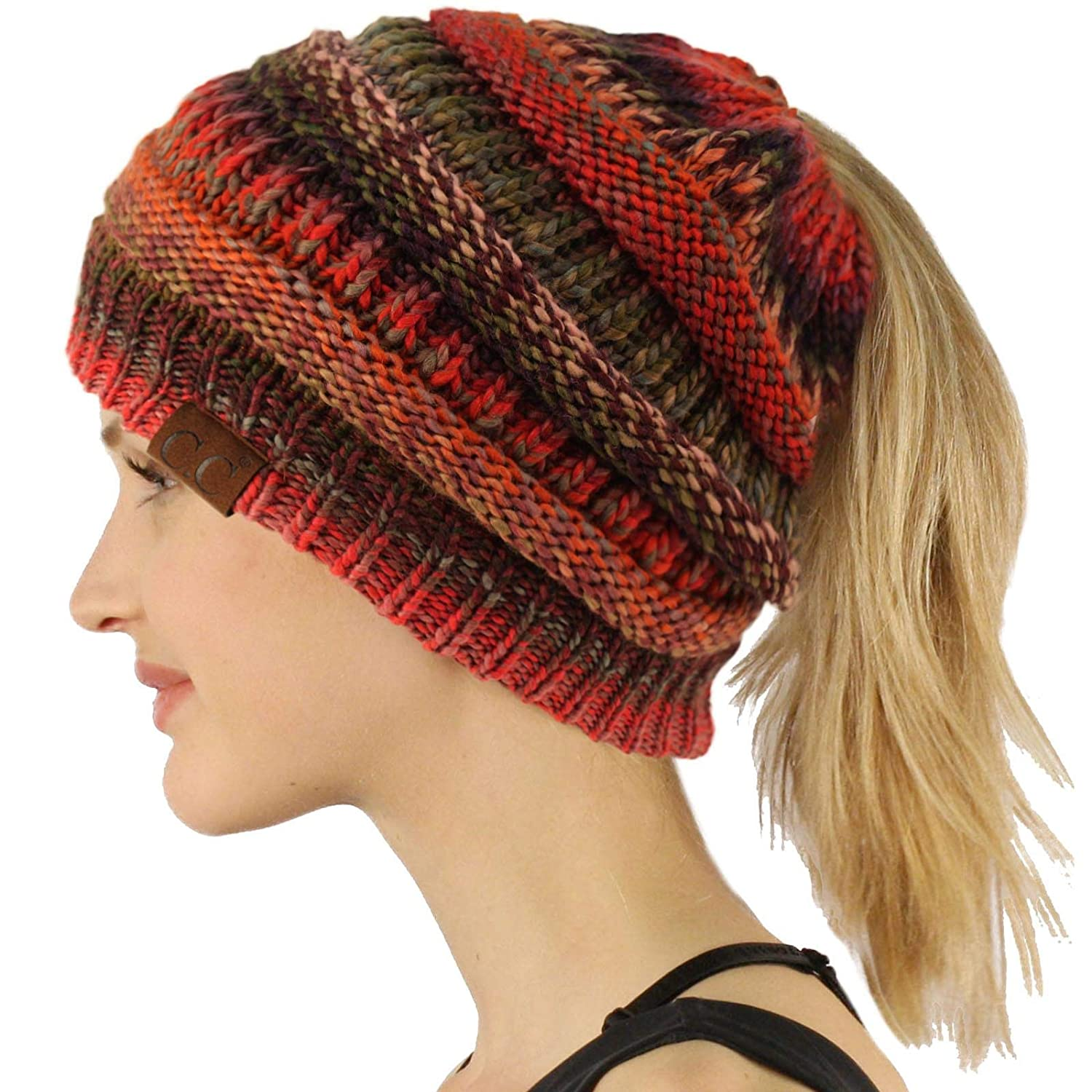 Rust Mix Ponytail Messy Bun BeanieTail Soft Winter Knit Stretchy Beanie Hat Cap