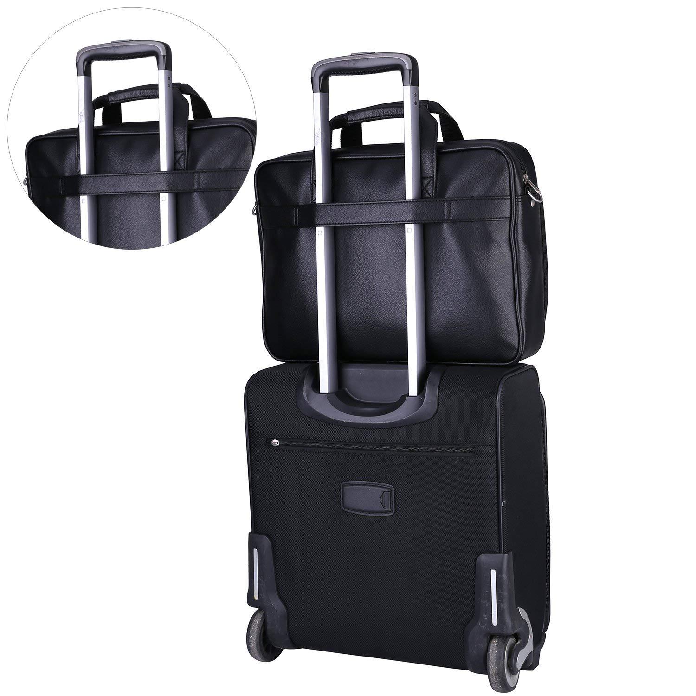 Mens Leather Messenger Bag Business Briefcases Office Laptop Bags Attache Case for Men Black