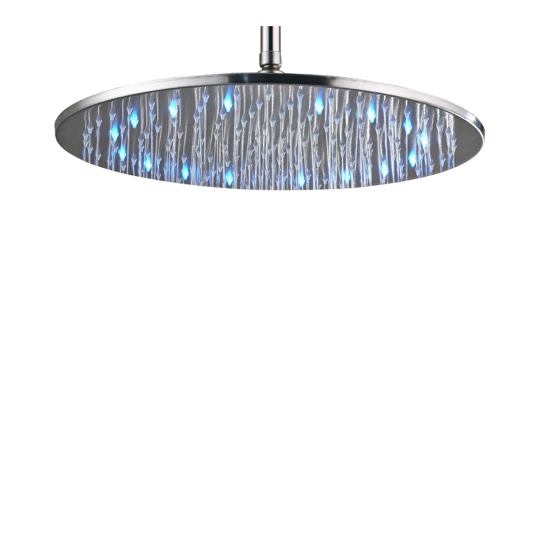 Rozin Bathroom LED Color 16-inch Round Rainfall Shower Head Overhead Spray Brushed Nickel
