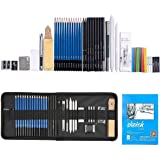 35pcs Graphite Drawing Pencils and Sketch Set ,Professional Drawing and Sketching Pencil Set in Zipper Carry Case with Rare Pop-Up Stand, Art Supplies Drawing Kit with Sketch Book for Adults Kids