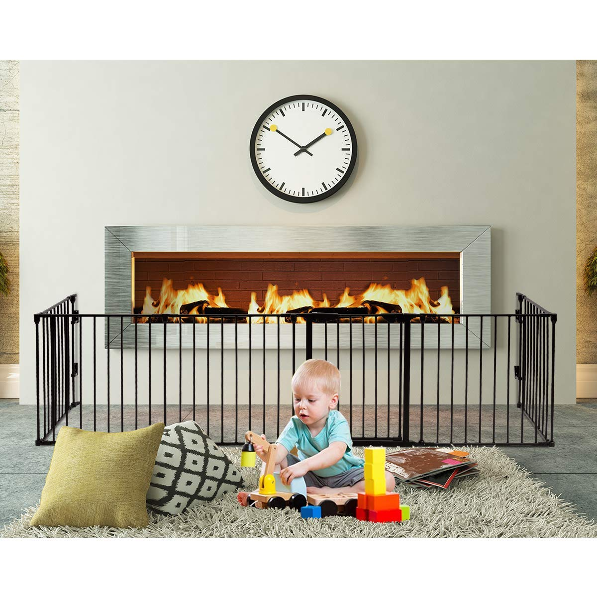 PETSJOY 6 Panels Baby Safety Gate, 5-in-1 Fireplace Fence, Wide Barrier Gate with Walk-Through Door in Two Directions, Add/Decrease Panels Directly, Wall-Mount Metal Gate for Pet & Child, Super Wide by PETSJOY